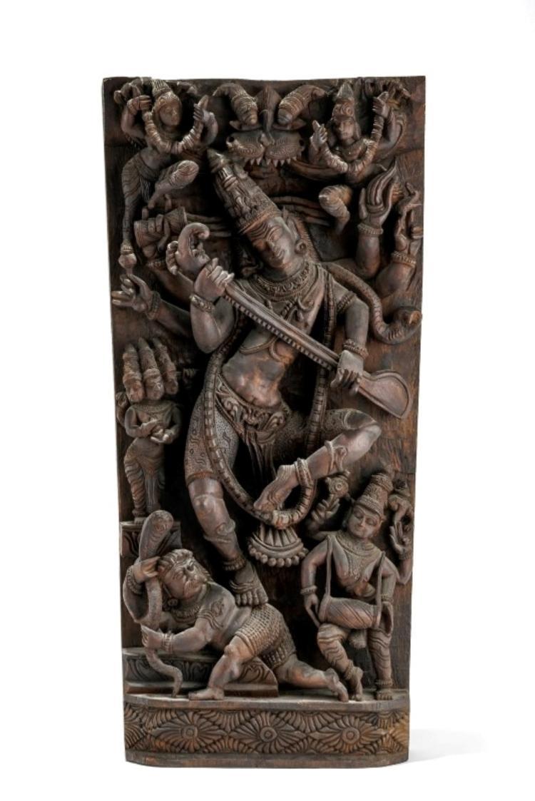 Shiva Nataraja-Vinadhara, relief en bois, Sud de l'Inde, XXe s., 77x36 cm