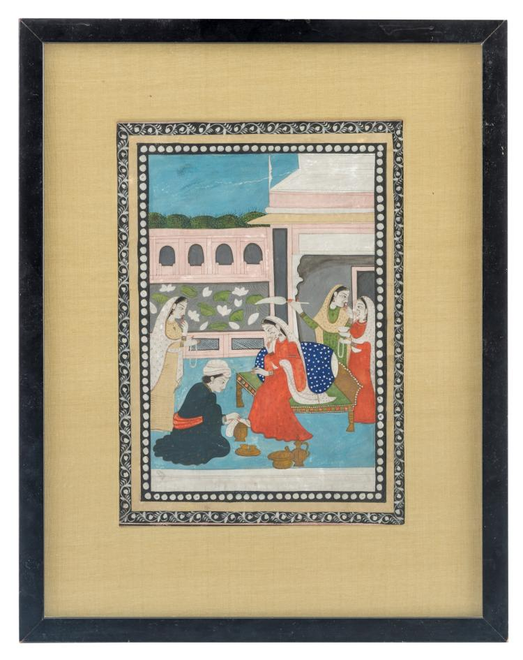 Ramkali Ragini, folio d'un ragamala, gouache opaque avec rehauts de dorure sur papier wasli, Ecole de Kangra, XIXe s., 18x12 cm (image seule)