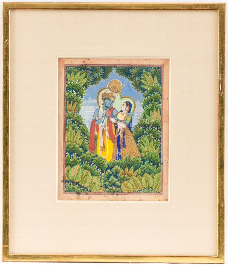 Krishna et Radha dans une forêt, gouache opaque avec rehauts d'or sur papier, sous verre, Inde, Jaipur, ca 1860-80, 43,5x37 cm (hors tout)