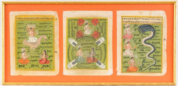 Collection de 3 diagrammes, gouache opaque sur papier, sous verre, Inde, Rajasthan, fin XIX ou XXe s., 29,5x61 cm (hors tout)