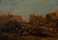 Édouard-Jacques Dufeu (1836-1900), Vue d'une ville du Moyen-Orient, huile sur toile, signée, 33x46 cm
