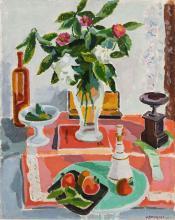 Jules Cavailles (1901-1977), Nature morte au bouquet de fleurs, huile sur toile, signée et datée 43, 80,5x65 cm