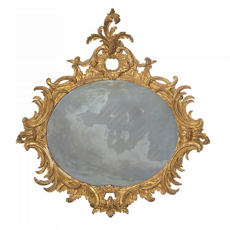 Miroir d 39 epoque rococo italie bois dore a cadre ovale sc for Cadre miroir