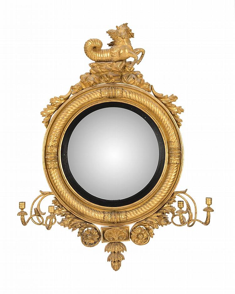 Miroir sorciere d 39 epoque regency en bois dore cadre moulu for Miroir au mercure