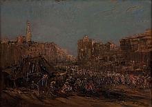 Edouard Jacques Dufeu (1840-1900), Ville d' Afrique du Nord, huile sur toile, signee, 33x44,5 cm