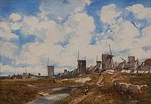 Louis Adolphe HERVIER (1818-1879), Village et moulins, huile sur toile, signee, 43x61,5 cm