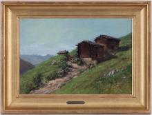 Jules Jequier (1834-1898), Chalets a St-Luc, huile sur papier maroufle sur carton, signee, titree au verso, 30,5x44 cm