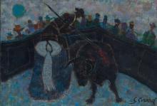 Georges Girard (1917-2003), Le picador , huile sur toile, signee, contresignee, titree et datee 1962 au verso, 55x38 cm