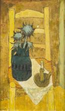Charles MONNIER (1925-1993), Nature morte a la chaise , huile sur toile, signee, contresignee, datee 1967 et titree au verso, 54,5x32 cm (a vue)