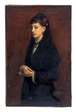 Emile Levy  (1826-1890), Portait de la baronne Levasseur, huile sur toile, signée et datée 1880, 75x115 cm
