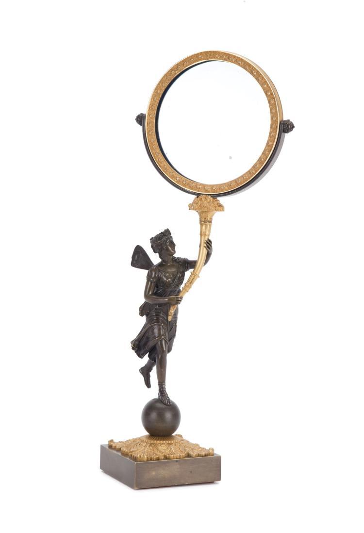 Miroir de table d 39 poque restauration en bronze cisel dor for Restauration miroir