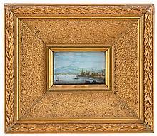 Jean DUBOIS (1789-1849), Le port de Versoix, miniature, gouache sur papier, signée et datée 1824, 7x10,5 cm