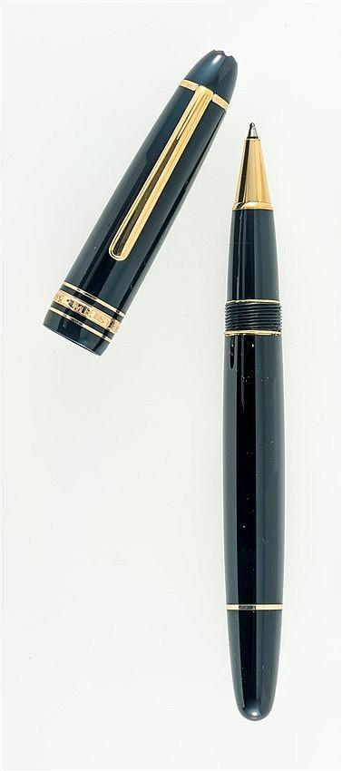 mont blanc meisterstuck stylo bille en laque noire et m ta. Black Bedroom Furniture Sets. Home Design Ideas
