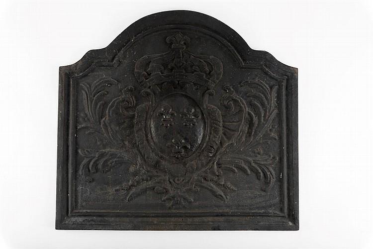 plaque de chemin e xxe s en en fonte cadre cintr orn d. Black Bedroom Furniture Sets. Home Design Ideas