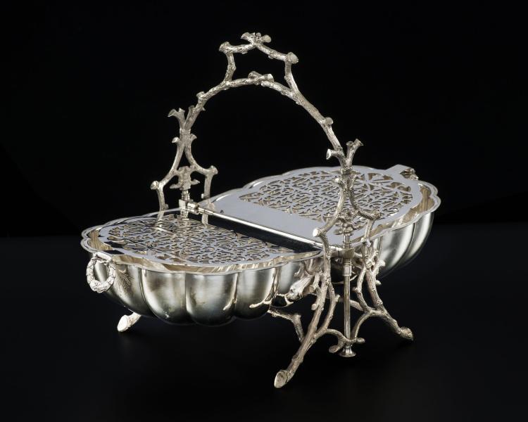 R chaud double de forme coquille pliable en m tal argent l - Pietement de table pliable ...