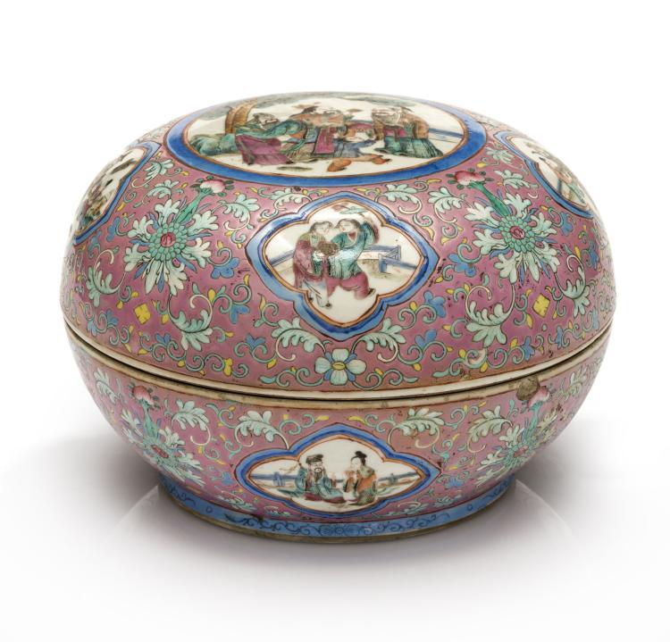 Bo te lenticulaire en porcelaine maill e chine ca 1900 d for Porcelaine de chine
