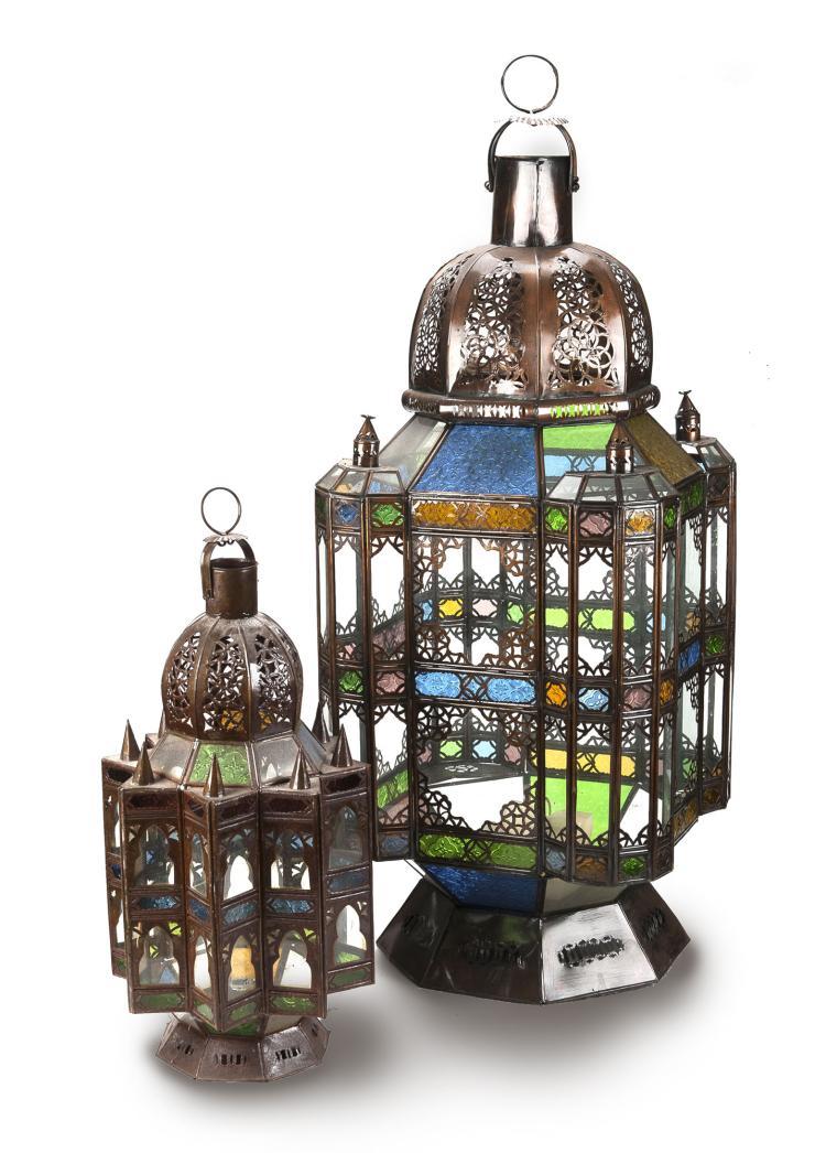 2 lanternes inspi orientale xxe s m tal peint couleur cui. Black Bedroom Furniture Sets. Home Design Ideas