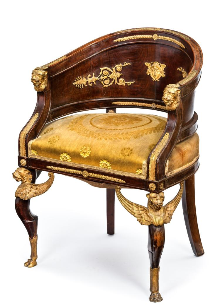 fauteuil gondole probablement russe circa 1810 1820 en ac. Black Bedroom Furniture Sets. Home Design Ideas