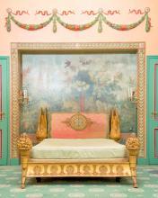 Lit à l'antique de style Empire, début XXe s., d'après le modèle de Jacob- Desmalter pour Joséphine, en bois doré et sculpté, à décor de col-de-cygne