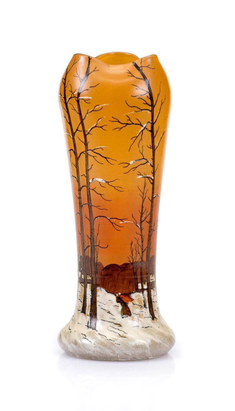 Vase col trilob sign legras ca 1900 en verre orang for Decoration vase en verre