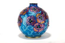 Vase boule sur talon à petit col droit en cuivre émaillé par Camille Fauré (1874-1956), Limoges, circa 1930. h. 21 cm