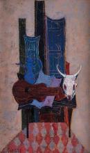 Georges Girard (1917-2003), Nature morte au crâne , huile sur toile, signée, contresignée, titrée et datée 1961 au verso, 55x33 cm