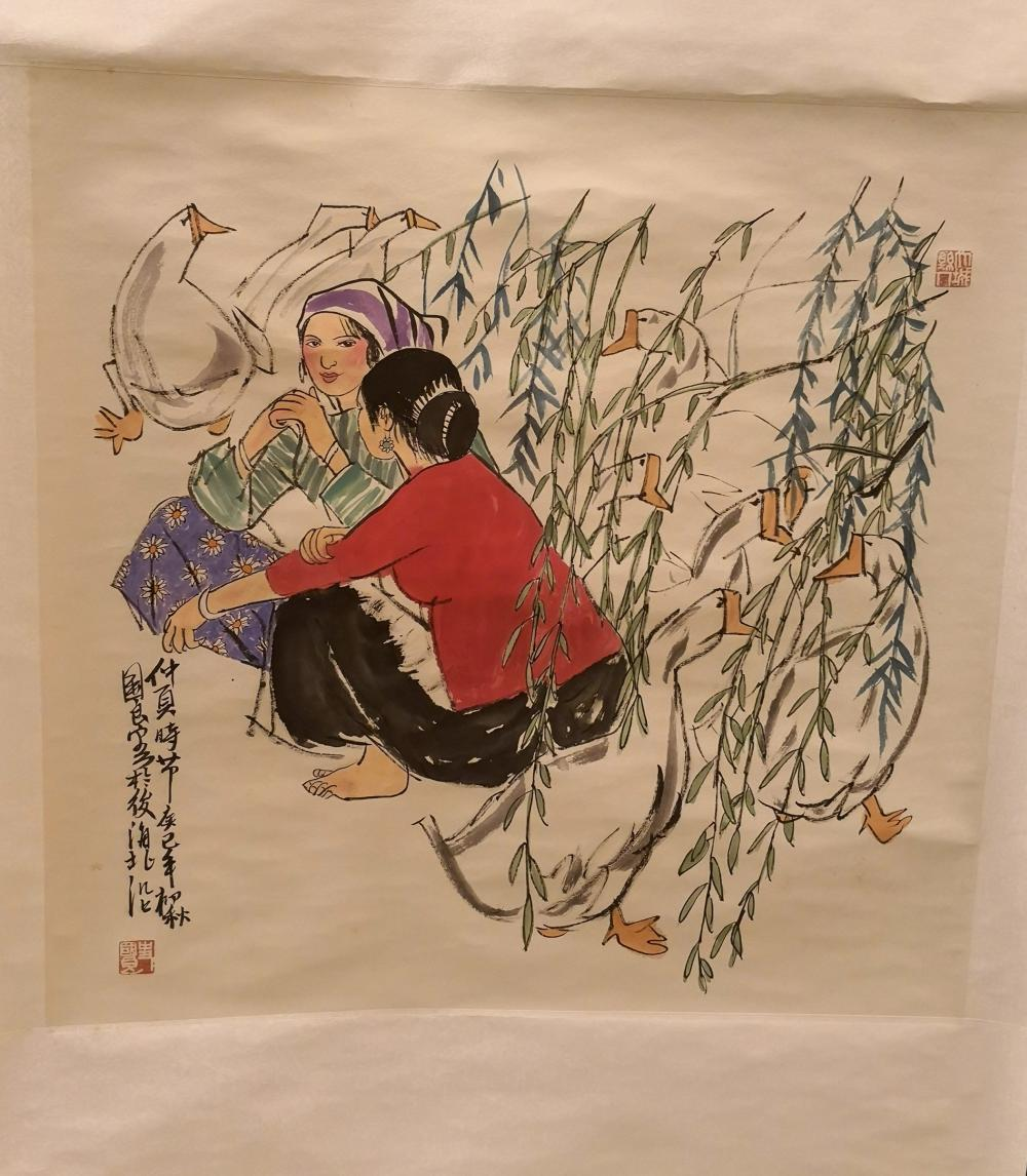 A CHINESE FIGURE PAINTING BY SHI GUOLIANG