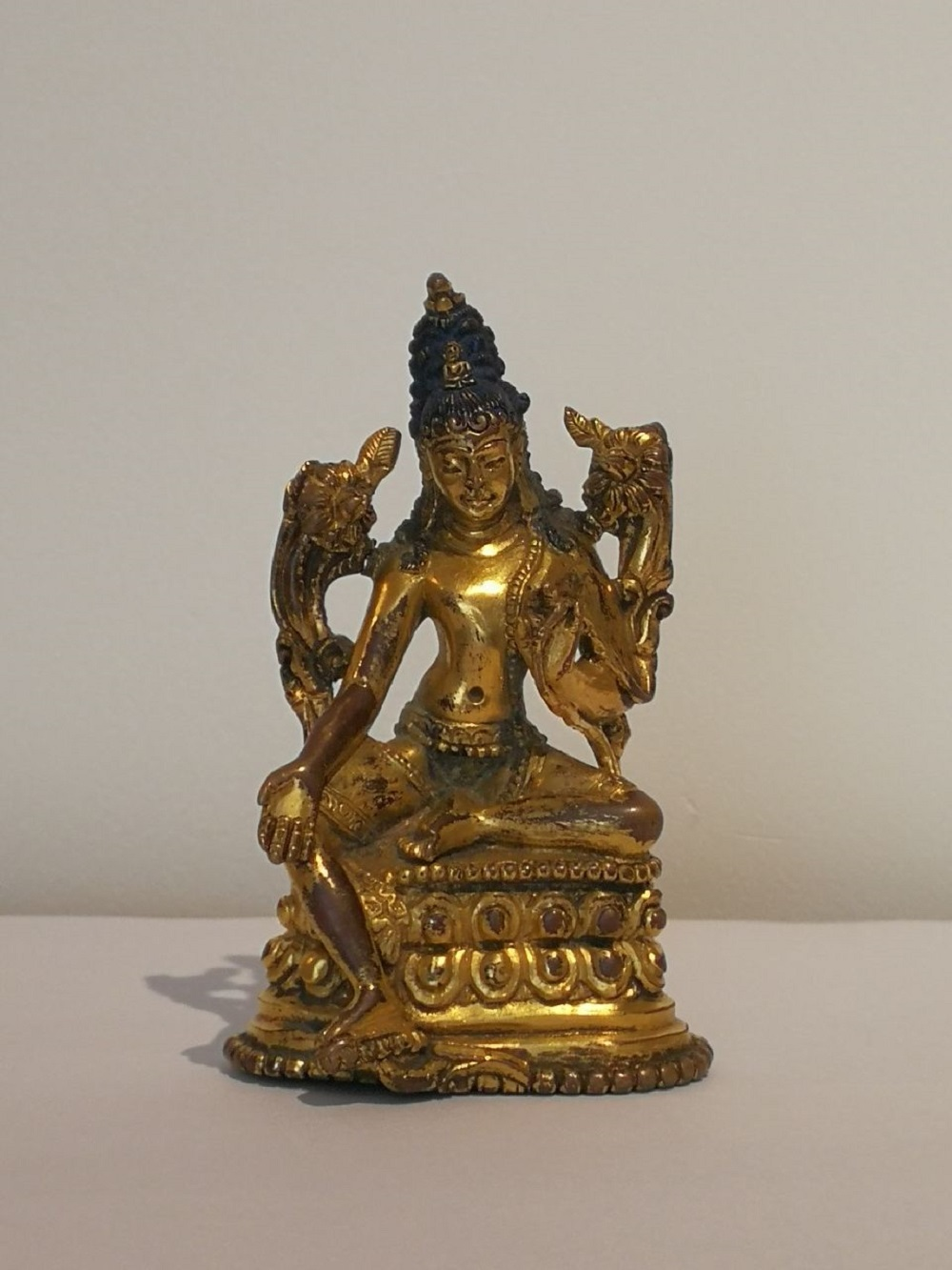 A 19th C Gilt-Bronze Tibetan Buddha Statue