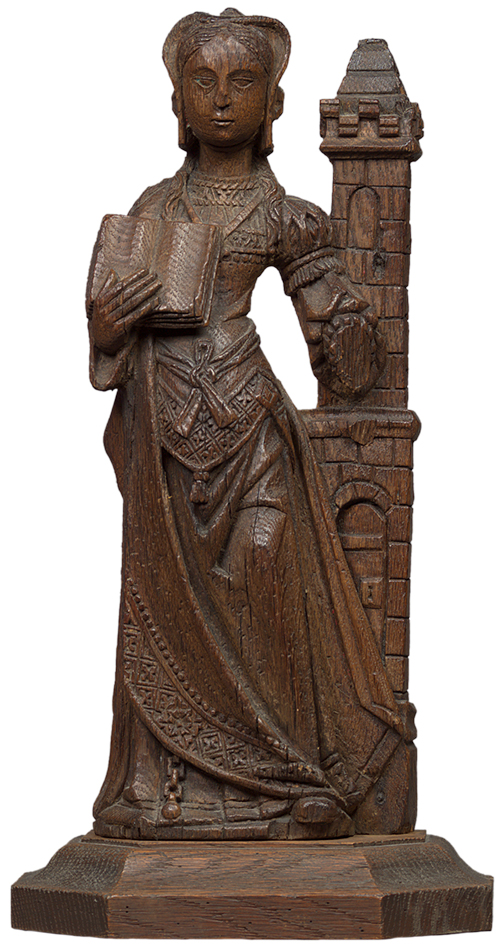 European Oak Figure of a Lady in Waiting