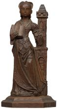 European Oak Figure of a Lady in Waiting
