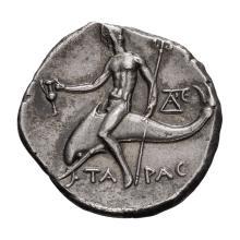 Calabria  Tarentum; AR Nomos  c. 240-228 BC  6.390. EF.