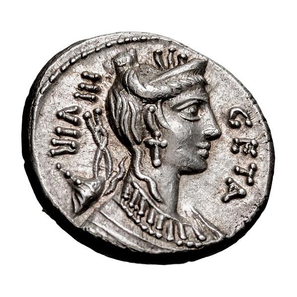 C. Hosidius C.f. Geta; 68 BC Denarius 4.090. MS.
