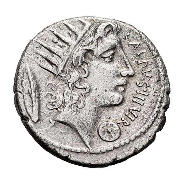 C. Coelius Caldus; 104 BC  Denarius  51 BC  3.440. VF.