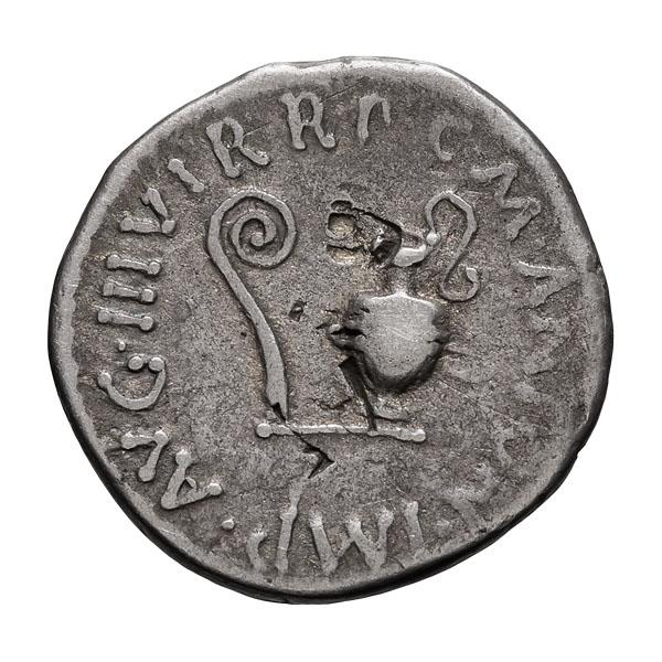 Mark Antony  struck by L. Plancus; Denarius  Greece  40 BC  3.730. VF.