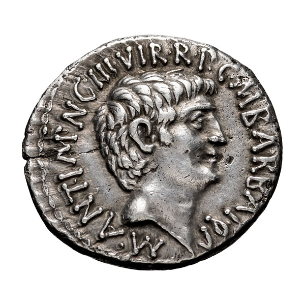 Mark Antony and Octavian; Denarius  41 BC  3.900. EF.