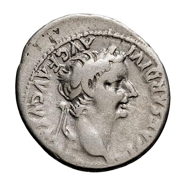 Tiberius Tribute Penny; 14-37 AD Denarius Lugdunum 3.680. F.