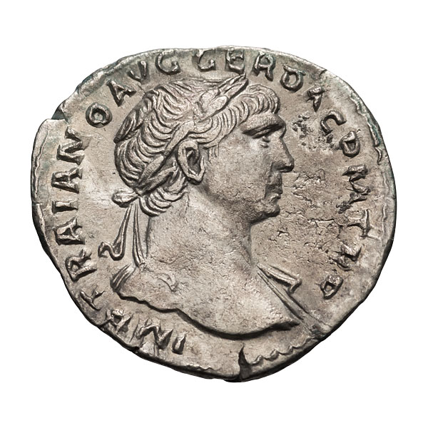 Trajan; 98-117 AD Denarius Rome c. 107-111 AD 3.250. EF.