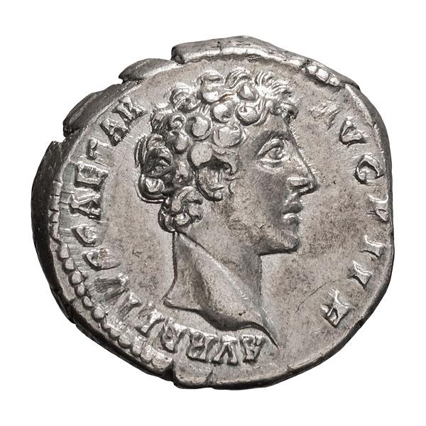 Marcus Aurelius as Caesar; 139-161 AD  Denarius  Rome  145-7 AD  3.690. EF.