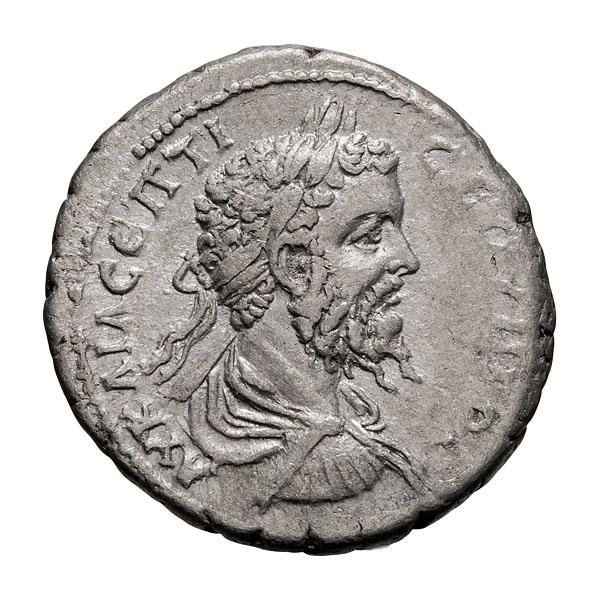 Septimius Severus; 193-211 AD AR Tridrachm Year 18=210 AD 7.430. EF.