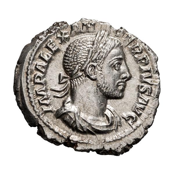 Severus Alexander; 222-235 AD  Denarius  Rome  c. 231-2 AD  3.690. MS.