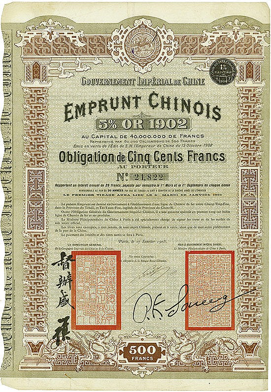 Gouvernement Impérial de Chine - Emprunt Chinois 5 % Or 1902 (Cheng-Tail Railway, Kuhlmann110)