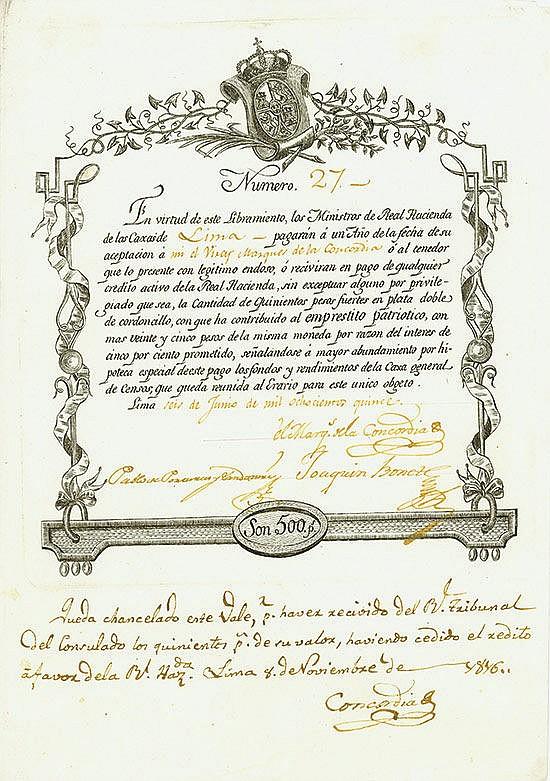 Vizekönigreich Peru - Emprestito Patriotico - Patriotische Anleihe