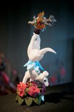 Habatat Karen Willenbrink-Johnsen Dog Jumping Thru Hoop