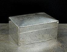 A silver mounted cigarette box, L Bennet & Co,