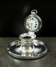 A large silver mounted capstan inkwell with