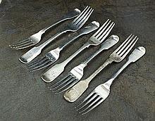 Seven Fiddle pattern silver table forks,