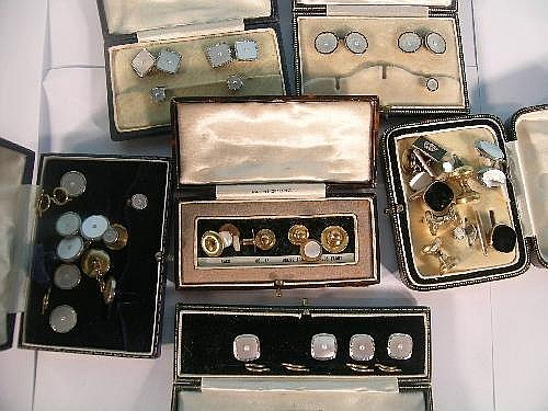 Sold Price A Collection Of Boxed Shirt Studs And Cufflinks To Include A Cased Set Of Cufflinks And Two Shirt Studs Designed As A Mother Of Pearl Panel Centred By A Split