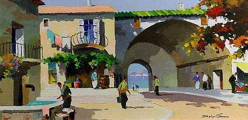D'Oyly-John 'Figures in a Mediterranean town