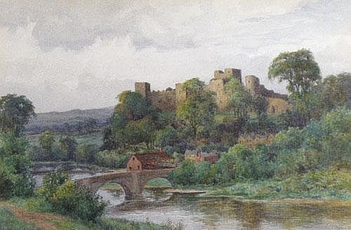 Edwin Viner 'A view of Ludlow Castle' watercolour,