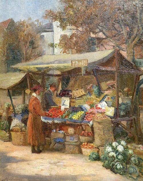 Arthur Netherwood (1864 - 1930) 'Market scene,